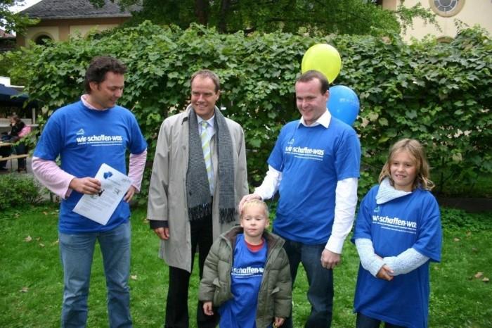 Uwe Krieger, Oberbürgermeister Dr. Würzner, Marc und Sebastian Lange, Fräulein Birr